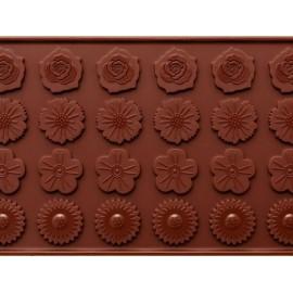 """Silikoninė formelė šokoladui, papuošimams """"Gėlių žiedai"""", 24 vnt."""