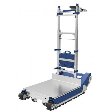 Akumuliatorinis vežimėlis kopiantis laiptais su vikšrine judėjimo platforma kroviniams iki 420 kg